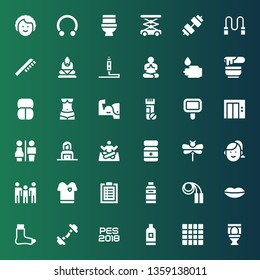 body icon set. Collection of 36 filled body icons included Toilet, Mat, Shampoo, Pes, Dumbbell, Broken leg, Lips, Jumping rope, Workout, Tshirt, Family, Woman, Dragonfly, Powder