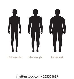 body male types, silhouette man naked figure, front human body