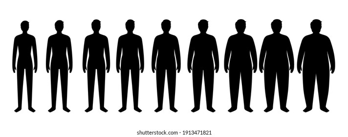 Body mass index concept. Man silhouettes with obese, normal and slim fit. BMI ranges from overweight to underweight male persons. Adult people with different weight. Fat level flat vector illustration