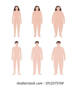 Body mass index concept. Woman and man silhouettes with obese normal and slim fit. BMI ranges from overweight to underweight persons. Adult people with different weight. Fat level vector illustration.