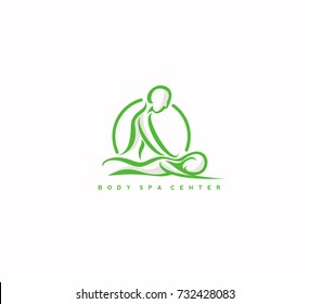 Body massage and spa center icon, hand drawn on white background, relaxing, leisure, rejuvinating, vector illustration