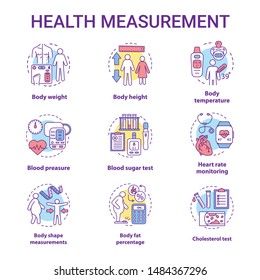 Body measurement concept icons set. Body weight, height control idea thin line illustrations. Monitoring cardiological parameters, heart rate, pulse. Vector isolated outline drawings. Editable stroke
