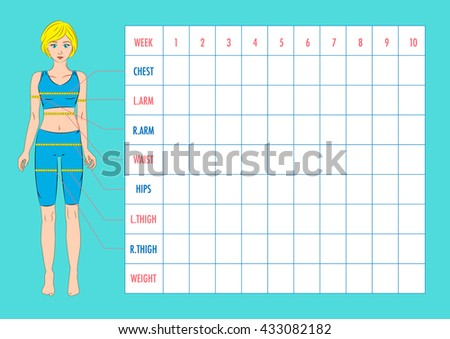 body measurement tracking chart layout blank stock vector royalty
