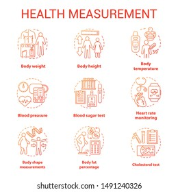 Body measuring tools concept icons set. Weight, height check idea thin line illustrations. Monitoring cardiological parameters, heart rate, pulse. Vector isolated outline drawings. Editable stroke