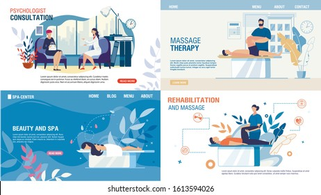 Body Mental Therapy and Rehabilitation Services Set. Flat Landing Page for Professional Recovery Massage, Medical Consultation, Psychologist Counseling, Beauty and Spa Services. Vector Illustration