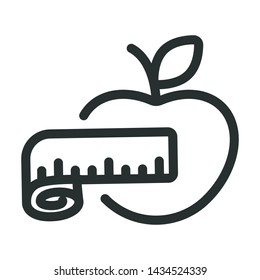 body meter and apple - minimal line web icon. simple vector illustration. concept for infographic, website or app.