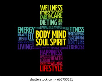 Body Mind Soul Spirit word cloud, health cross concept