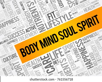 Body Mind Soul Spirit word cloud collage, health concept background