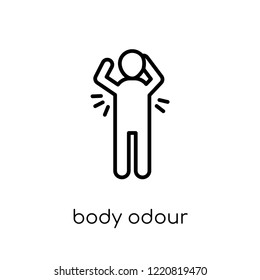 body odour icon. Trendy modern flat linear vector body odour icon on white background from thin line Hygiene collection, outline vector illustration