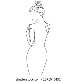 Woman's body one line drawing on white isolated background. Vector illustration