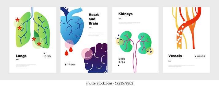 Body organs poster. Abstract doodle banners set with lungs and kidneys, heart or brain. Circulatory system consisting of veins and arteries. Vector presentation simple mockup for medical conference
