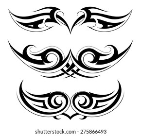 Body ornament. Chest and back tattoo set in Gothic style