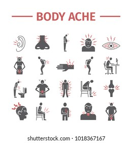 Body Pain and Injury flat icons set. Vector illustration for websites. Medicine signs