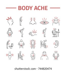 Body Pain and Injury line icons set. Vector illustration for websites, magazines, brochures. Medicine signs