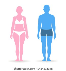 Body parameters man and women in full length with measurement. Man and women sizes measurements for clothes. vector illustration
