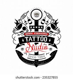 Body Piercing and Tattoo studio emblem
