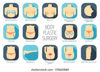 Body plastic surgery icons. Flat design. Vector illustration
