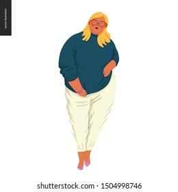 Body positive female portrait - hand drawn flat style vector design concept illustration of a plus size woman, full figure. Flat style vector icon