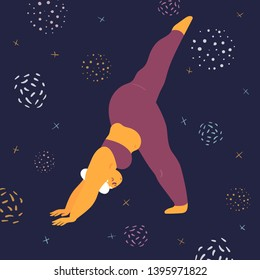 Body positive woman doing asana eka pada svanasana yoga. Plus size model makes asana in the space. Young girl stands on hands and one leg.  Zen relaxation. How to do certain exercise. Flat vector