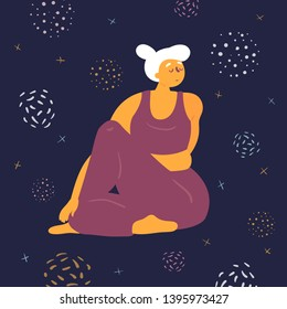 Body positive woman doing asana upavistha parivrttasana yoga. Plus size model makes asana in the space. Young girl twisted her arms and legs.  Zen relaxation. How to do certain exercise. Flat vector