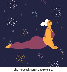 Body positive woman doing asana bhujangasana yoga. Plus size model makes asana in the space. Young girl stretches her back.  Zen relaxation. How to do certain exercise. Flat vector