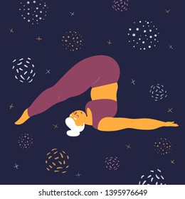 Body positive woman doing asana halasana yoga. Plus size model makes asana in the space. Young girl threw her legs behind her head.  Zen relaxation. How to do certain exercise. Flat vector