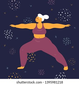 Body positive woman in warrior virabhadrasana asana yoga pose. Plus size model makes asana in the space. Young girl stands firmly on both legs.  Zen relaxation. How to do certain exercise. Flat vector
