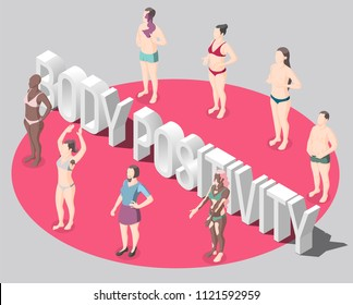 Body positivity isometric poster with people standing in red round dressed in swimsuits not hiding features of body vector illustration