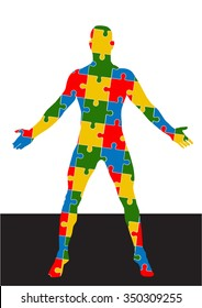 body puzzle vector