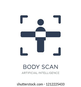 Body scan icon. Trendy flat vector Body scan icon on white background from Artificial Intelligence, Future Technology collection, vector illustration can be use for web and mobile, eps10