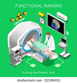 Body Scan PET Clinic MRI Functional Scan Tomography Brain Cancer Diagnostic Body Scan Imaging Hospital. Medical Doctor patient bed Healthcare Medicine 3D Isometric People Vector Infographic