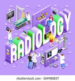 Body Scan Radiology Imaging Healthcare Health Care Concept. Clinic Hospital Department icon Symbol. 3D Flat Isometric People Patients Nurses Medical Doctor Radiologist Vector infographic Illustration