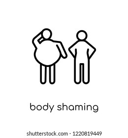 body shaming icon. Trendy modern flat linear vector body shaming icon on white background from thin line Hygiene collection, outline vector illustration