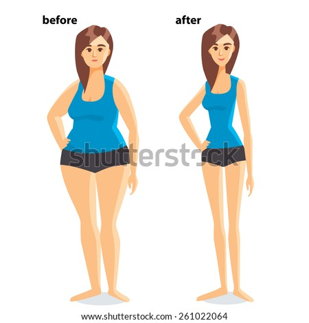 body shape before after weight loss のベクター画像素材