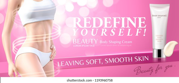 Body shaping cream with fitness woman in 3d illustration, pink bokeh background