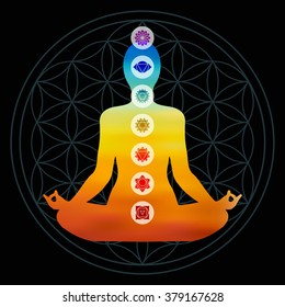Body silhouette with chakra icons doing yoga pose, colorful blur gradient design on flower of life sacred geometry background. EPS10 vector.