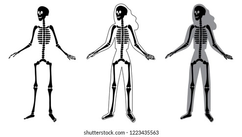Body silhouette, skeleton and bones inside body, skeletal system flat illustrations set in modern style. Educational anatomy materials. medical center, clinic, institute, rehabilitation, diagnostic