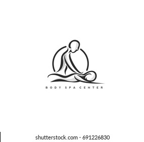Body Spa Centre icon, massage parlour, spa, relax, rejenuvate, essential oil, white background, vector illustration