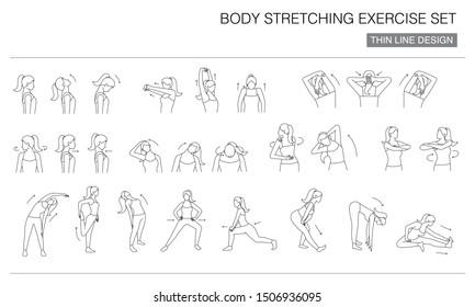 body stretching exercise icon set, thin line design