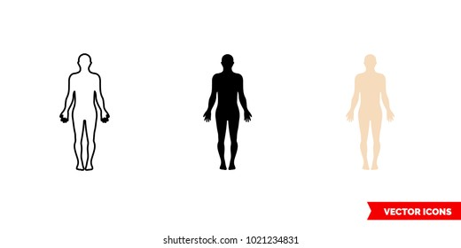 Body symbol icon of 3 types: color, black and white, outline. Isolated vector sign symbol.