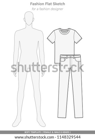 Body Template Fashion FLAT SKETCHES Technical Drawings FEMALE MALE 8 HEADS