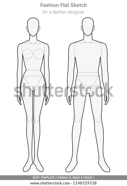 Body Template Fashion Flat Sketches Technical Stock Vector Royalty Free 1148329538