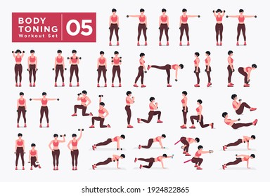 Body Toning  Workout Set. Women Dumbbell workout fitness, aerobic and exercises. Vector Illustration.