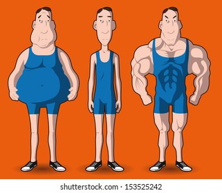 body transformation. the transformation of the body - fat to muscular.