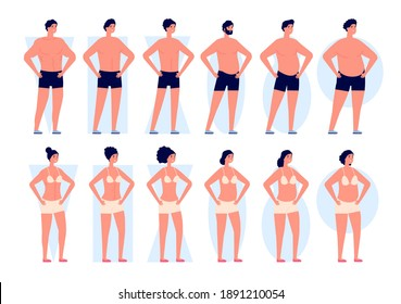 Body types. Woman shapes, men bodies silhouettes. Fashion icons, different girls boys in underwear, flat slim fat utter vector characters