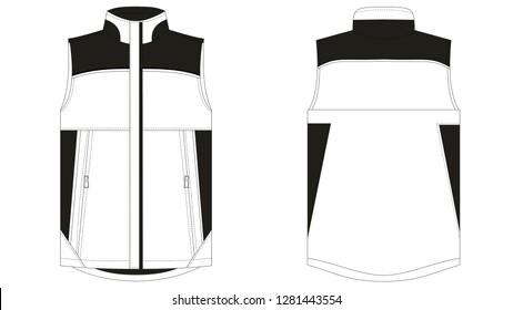 Body Warmer Fashion Technical Sketch Drawing