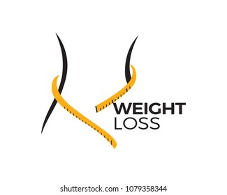 Body Weight Loss Program Logo In Isolated White Background