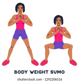 Body weight sumo. Wide stance squats.Sport exersice. Silhouettes of woman doing exercise. Workout, training Vector illustration