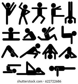 Body Workout Exercise / Yoga Poses Stick Figure Pictogram Icon Vector