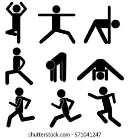 Body Workout / Stretching Exercises. Healthy Life Style Concept. Stick Figure Pictogram Icon